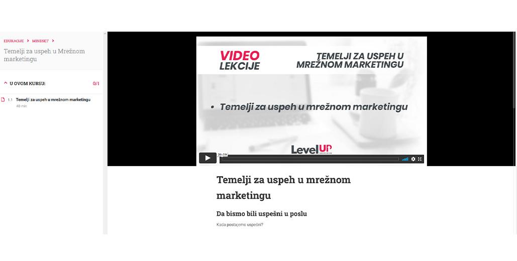 Izgled video lekcije na LevelUp Akademiji